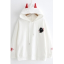 Girls Lovely Cartoon Bear Ear Design Loose Casual Pullover Hoodie