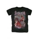 All Shall Perish Rock Style Heavy Metal Skull Print Short Sleeve Black Casual Tee