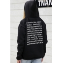 Womens Popular Street Letter Print Black Regular Fit Pullover Drawstring Hoodie
