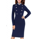 Fashion Office Lady Stand Collar Double Breasted Front Long Sleeve Zipper Split Back Midi Pencil Dress in Navy