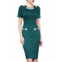 Trendy Chic Hot Sale Striped Print Short Sleeve Elegant Midi Pencil Dress