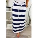Womens Hot Sale Drawstring Waist Striped Print Casual Maxi Skirt