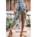 Summer Hot Sale Sexy Boho High Waist Split Side White Floral Print Maxi Wrap Skirt