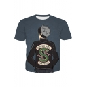 Cartoon Boy Back Snake Print Round Neck Short Sleeve Navy T-Shirt