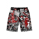 Comic Character 3D Printed Mens Drawstring Waist Casual Loose Sport Shorts