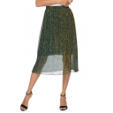Fashion Womens Metallic Color High Waist Layer Mesh Pleated A-Line Midi Skirt
