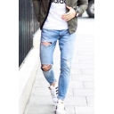 Men's Street Trendy Plain Light Blue Slim Distressed Ripped Jeans with Holes