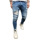 Men's Street Fashion Light Blue Stripe Side Skinny Ripped Jeans