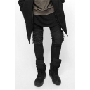 Men's Street Trendy Solid Color Knee Pleated Cool Distressed Ripped Biker Jeans in Black