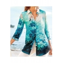 Stylish Womens Elegant Floral Print Nine Point Sleeve Button Down Holiday Fitted Shirt