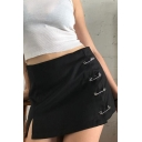 Summer Hot Stylish Black Safety Pin Slit Side A-Line Mini Skirt