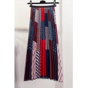 Summer Hot Stylish Chic Geometric Print High Waist Pleated A-Line Midi Skirt