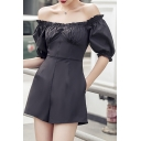 Summer Fashion Plain Off Shoulder Puff Sleeve High Waist Fitted Bustier Rompers