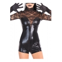 Women Stylish Black Sheer Lace Long Sleeve Faux Leather Fitted Nightclub Rompers