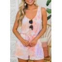 New Trendy Womens Tie Dye V Neck Sleeveless Cutout Drawstring Waist Beach Rompers