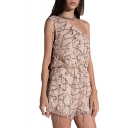 Summer Stylish One Shoulder Sleeveless Sequin Embellished Chic Mesh Rompers