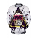 Cool Unique Triangle Skull 3D Printing Rib Stand Collar Long Sleeve White Baseball Jacket