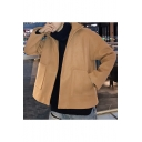 Guys New Trendy Simple Solid Color Long Sleeve Open Front Wool Coat with Pocket