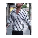 Mens Casual Leisure Classic Vertical Stripe Print Long Sleeve Fitted Button Shirt