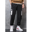 Men's Popular Fashion Colorblock Letter EVERMINND Printed Buckle Strap Flap Pocket Drawstring Cargo Pants