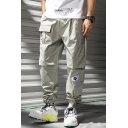 Men's New Fashion Logo Patchwork Multi-pocket Loose Fit Casual Drawstring Sports Cargo Pants