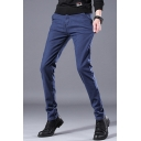 Men's Classic Fashion Simple Plain Slim Fit Casual Dress Pants