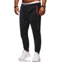 Men's New Fashion Contrast Zipped Pocket Drawstring Waist Slim Sports Cotton Sweatpants
