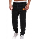 Men's New Fashion Fire Pattern Drawstring Waist Casual Cotton Sports Sweatpants