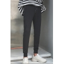 Men's Simple Fashion Solid Color Zipped Pocket Black Cotton Casual Sweatpants