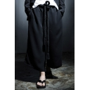 Men's Dark System Simple Plain Black Punk Style Loose Dance Pants Wide Leg Pants