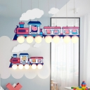 Wood Train Shape Pendant Light with Peggy for Kindergarten 3/5/7 Lights Cartoon Hanging Light