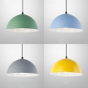 Metal Ribbed Dome Hanging Light 1 Bulb Nordic Style Hanging Lamp in Blue/Gray/Green/Yellow for Restaurant