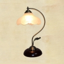 Vintage Style Floral Table Light Opal Glass 1 Light White Desk Light for Study Room Office