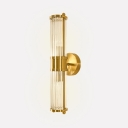 Bedroom Living Room Tube Wall Light Clear Crystal Modern Stylish Gold Sconce Light
