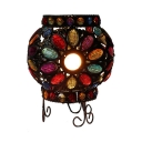 Floral Theme Kid Bedroom Night Light Multi-Color Crystal One Light Moroccan Table Light in Copper