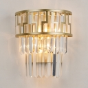 Modern Stylish Crystal Wall Light Metal Sconce Wall Lamp in Gold Finish for Hallway Bedroom