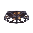 Metal Polyhedron Cage Flush Mount Light Dining Room 2 Lights Industrial Ceiling Lamp in Black