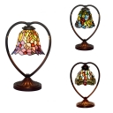 Bell Dining Room Desk Light with Dragonfly/Flower/Grape Stained Glass 1 Head Rustic Tiffany Night Light