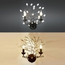 Creative Black/Bronze Wall Light Candle Two Lights Metal Wall Lamp with Twig & Crystal for Hotel