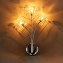 Chrome Dandelion LED Sconce Light 3 Heads Rustic Style Metal Wall Light with Crystal for Stair