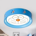 Cat/Dog/Plane LED Flushmount Light Metal Modern Blue Ceiling Lamp for Kid Bedroom