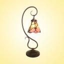 Conical Study Room Desk Light with Flower Art Glass 1 Light Tiffany Desk Lamp in Pink