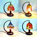 Stained Glass Table Light with Dragonfly/Flower/Grape/Rose 1 Light Rustic Tiffany Desk Light for Study Room