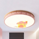 Nordic Warm/White LED Ceiling Fixture Mushroom Acrylic Flush Ceiling Light in Green/Pink/White/Yellow for Hallway
