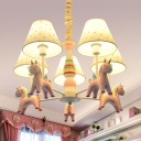 Resin Unicorn Shaped Pendant Light 5 Lights Cartoon Chandelier in Blue/Pink for Nursing Room