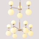 Nordic Style White Chandelier Globe Shade 6/12 Heads Milk Glass Ceiling Pendant for Cafe