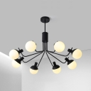 Snowflake Bedroom Foyer Pendant Light Metal Six Lights Modern Style Chandelier in Black