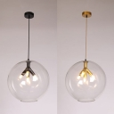 Kitchen Restaurant Globe Pendant Light Transparent Glass 3 Bulbs Black/Gold Chandelier