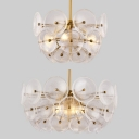 Modern Style Gold Chandelier Disc Shade Three Lights Transparent Glass Pendant Light for Villa