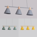 Study Room Cone Island Lamp Metal 3 Heads Macaron Style Gray/Green/Yellow Island Pendant